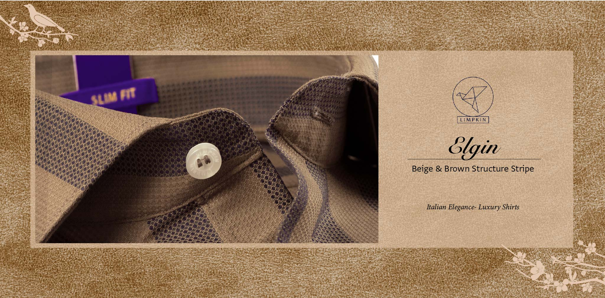 Elgin- Beige & Brown Structure Stripe- 2 Ply Pure Egyptian Giza Cotton- Delivery from 16th Jan - Banner