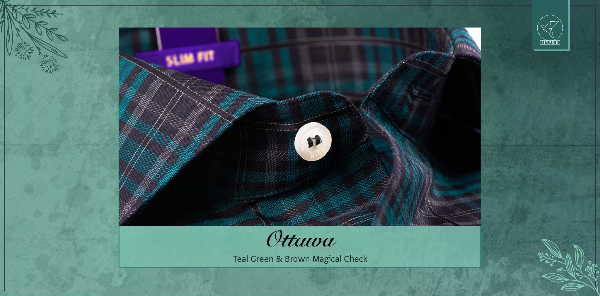 Ottawa- Teal Green & Brown Check- 2 Ply Pure Egyptian Giza Cotton- Delivery from 3rd March - Banner