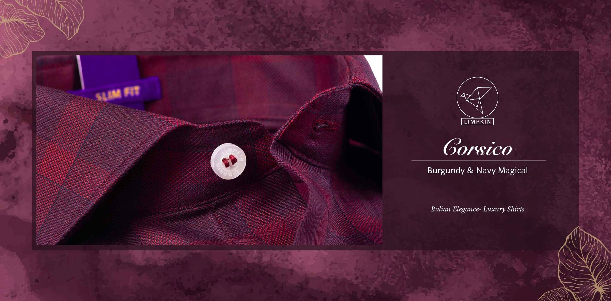 Corsico- Burgundy & Navy Magical Check- 2 Ply Pure Egyptian Giza Cotton- Delivery from 28th Nov - Banner