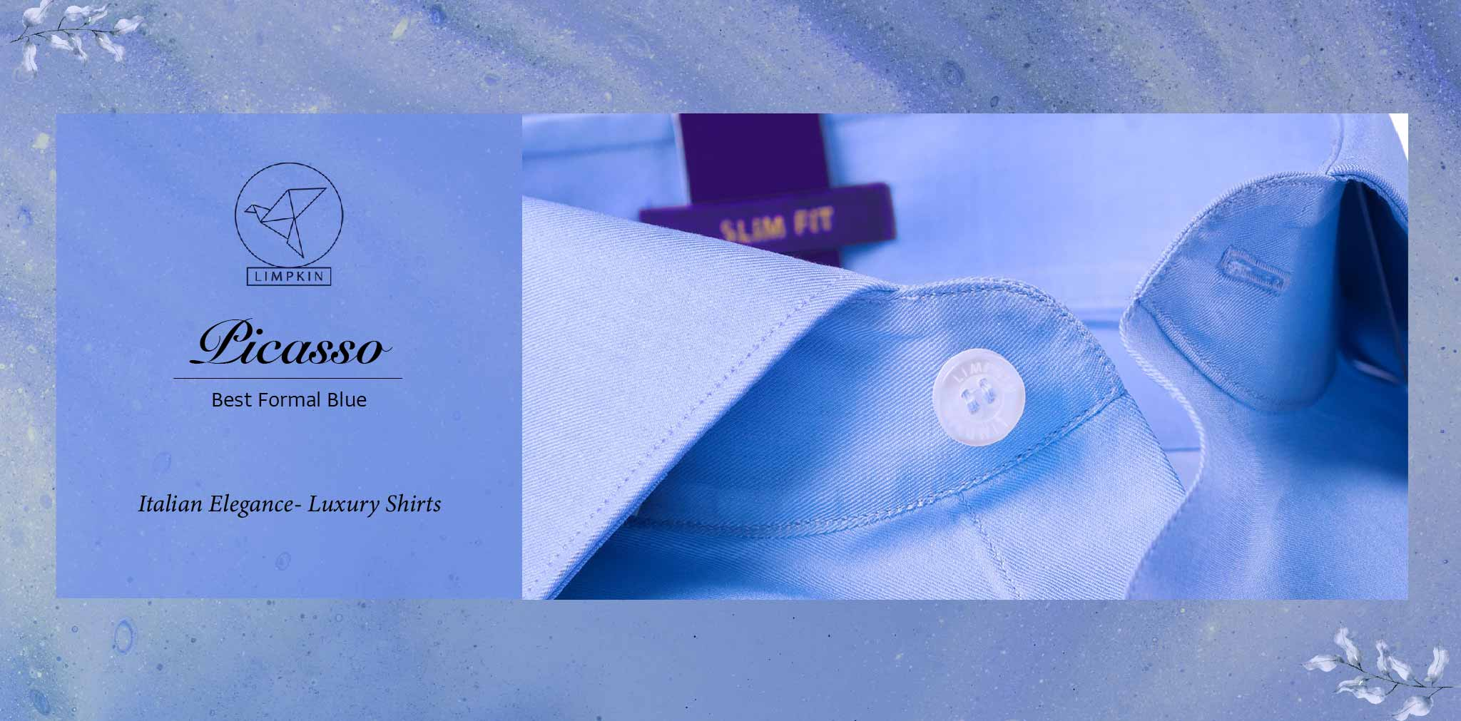 Picasso- Best Formal Blue- 2/140 Egyptian Giza Cotton- Delivery from 17th May - Banner