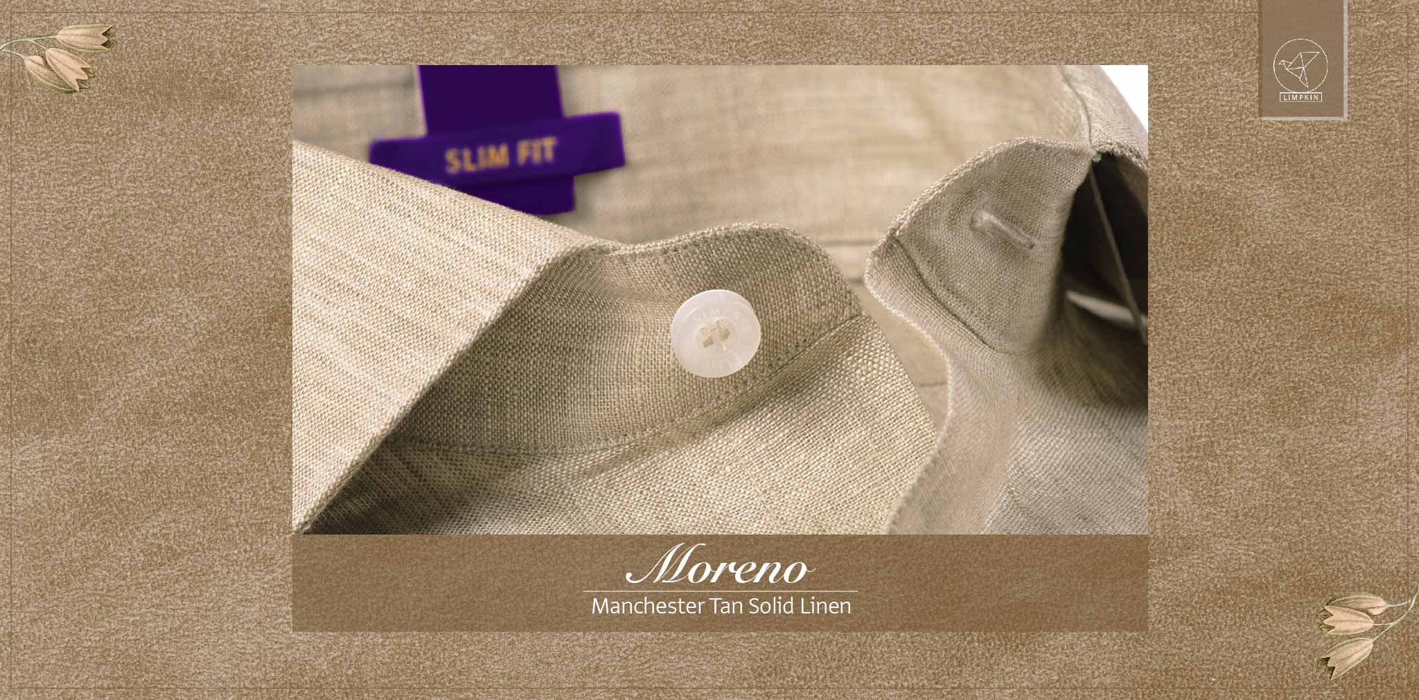 Moreno- Manchester Tan Solid Linen- 66's Lea Pure Luxury Linen- Delivery from 19th April - Banner