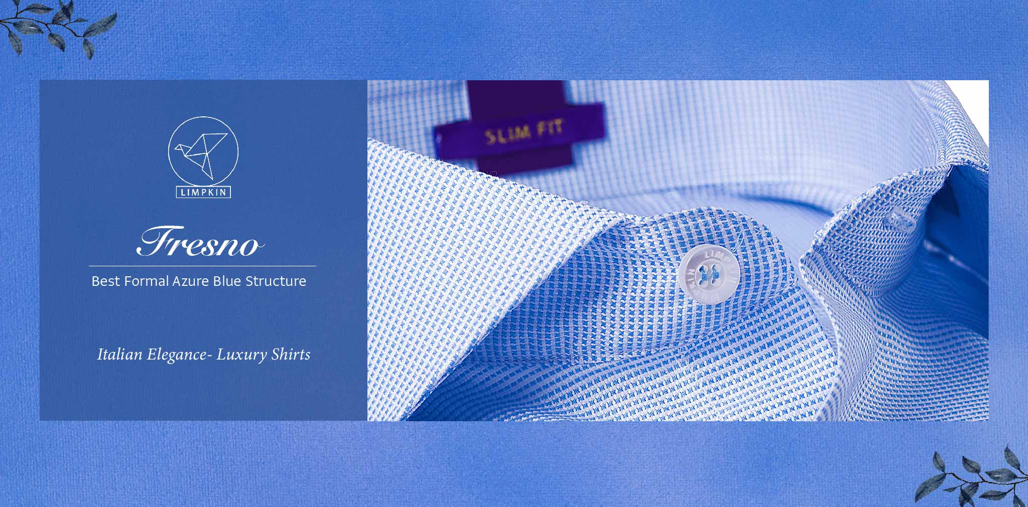 Fresno- Best Formal Azure Blue Structure- 2 Ply Pure Egyptian Giza Cotton- Delivery from 3rd March - Banner