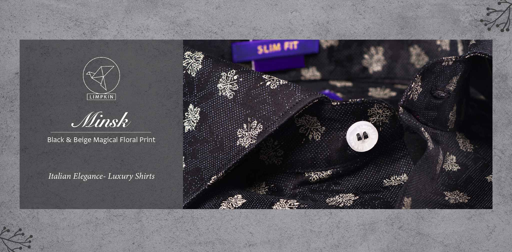 Minsk- Black & Beige Magical Floral Print- Pure Egyptian Giza Cotton- Delivery from 10th March - Banner