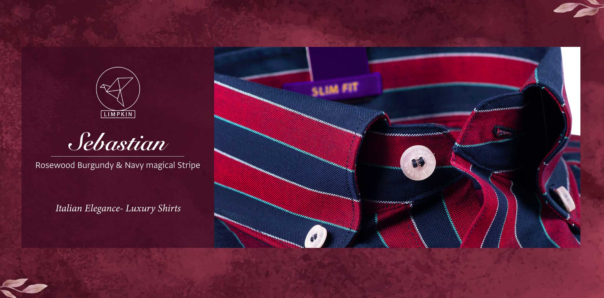 Sebastian- Rosewood Burgundy & Navy Magical Stripe- Pure Egyptian Giza Cotton- Delivery from 15th June - Banner