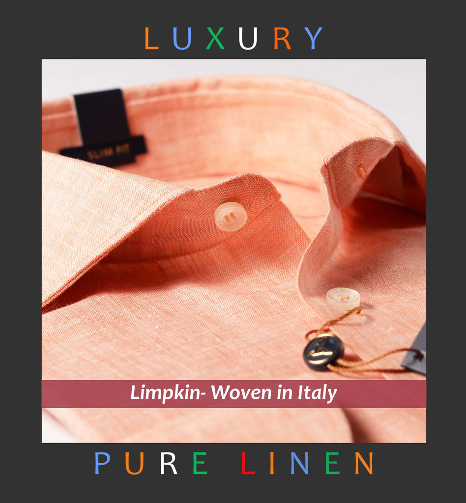TURIN-ORANGE PURE LINEN IN 60's LEA-WITH POCKET