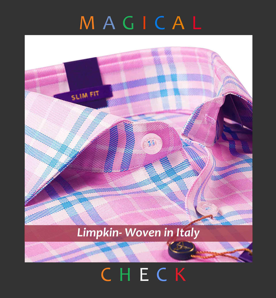HOUSTON- PINK & BLUE MAGICAL CHECK- SLIM/REGULAR FIT