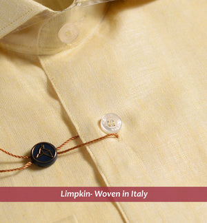 POMPI-YELLOW PURE LINEN IN 60's LEA-WITH POCKET