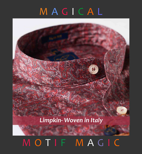KYOTO- MAGICAL PAISLEY MAROON PRINT- SLIM/REGULAR FIT