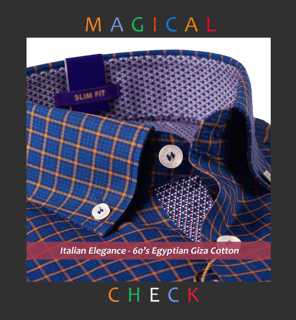 BRISBANE- NAVY & ORANGE CHECK- BUTTON DOWN