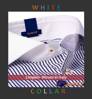 CHICAGO- BLACK STRIPE & WHITE COLLAR- SLIM/REGULAR FIT
