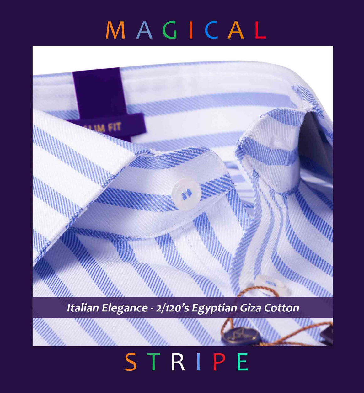 Beverly- Oxford Blue & White Magical Stripe