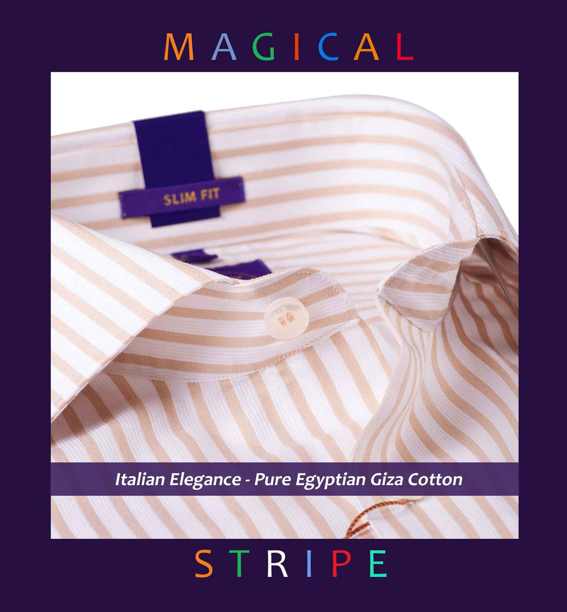 FRIBOURG- BEIGE & WHITE MAGICAL FORMAL STRIPE