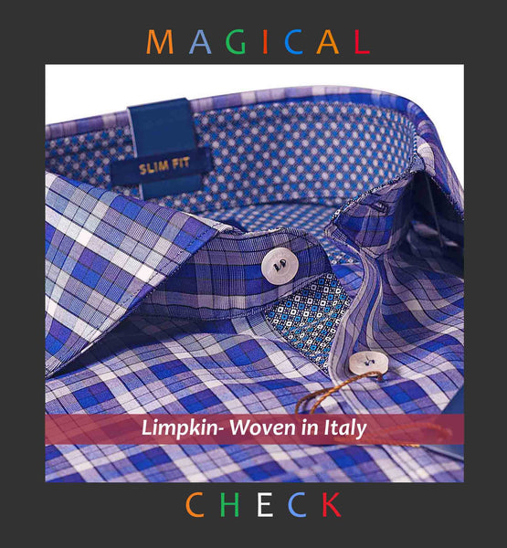 ALMADA- MAGICAL NAVY CHECK WITH PRINT CONTRAST- Delivery from 25th July