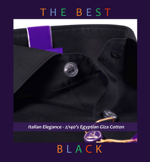 Ascona- Best Formal Black- 2/140 Egyptian Giza Cotton