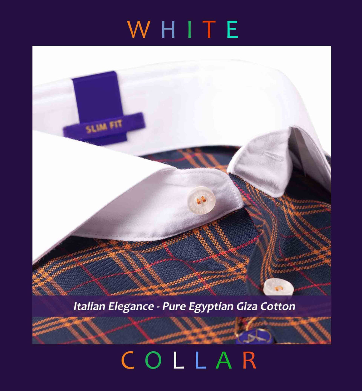 MORITZ- DARK NAVY & ORANGE CHECK & WHITE COLLAR
