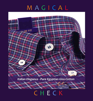 Minneapolis- Navy & Burgundy Magical Check- Button Down