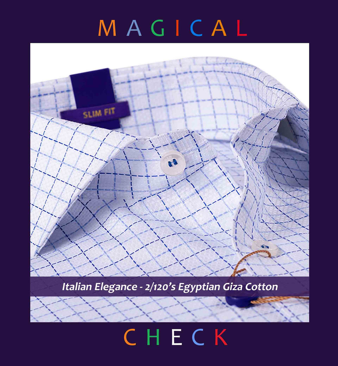 CUENCA- BLUE & WHITE MAGICAL CHECK- 2/120 EGYPTIAN GIZA COTTON