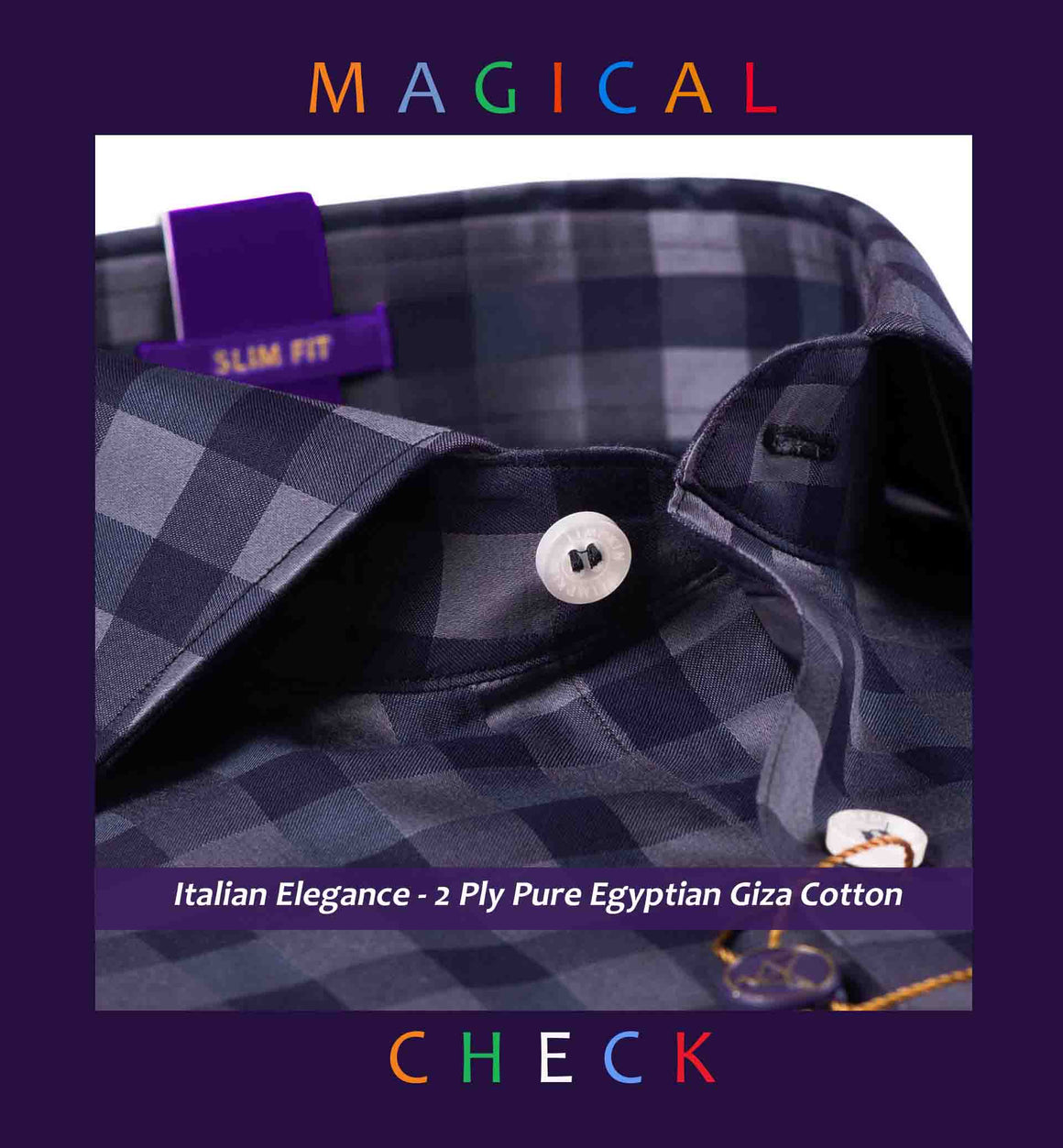 Oakville- Anchor Grey & Steel Grey Magical Check- 2 Ply Pure Egyptian Giza Cotton