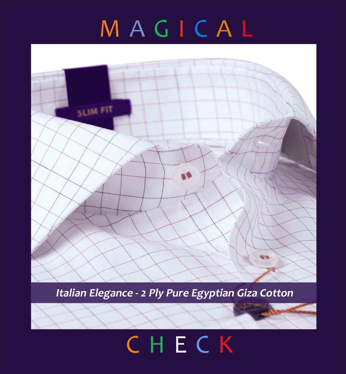 Dunbar- Burgundy & Navy Magical Pin Check- 2 Ply Pure Egyptian Giza Cotton