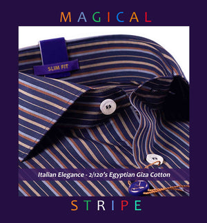 CORDOBA- BLACK & BEIGE MAGICAL STRIPE- 2/120 EGYPTIAN GIZA COTTON