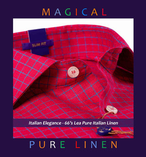 MELBOURNE- CORAL RED CHECK- PURE LINEN