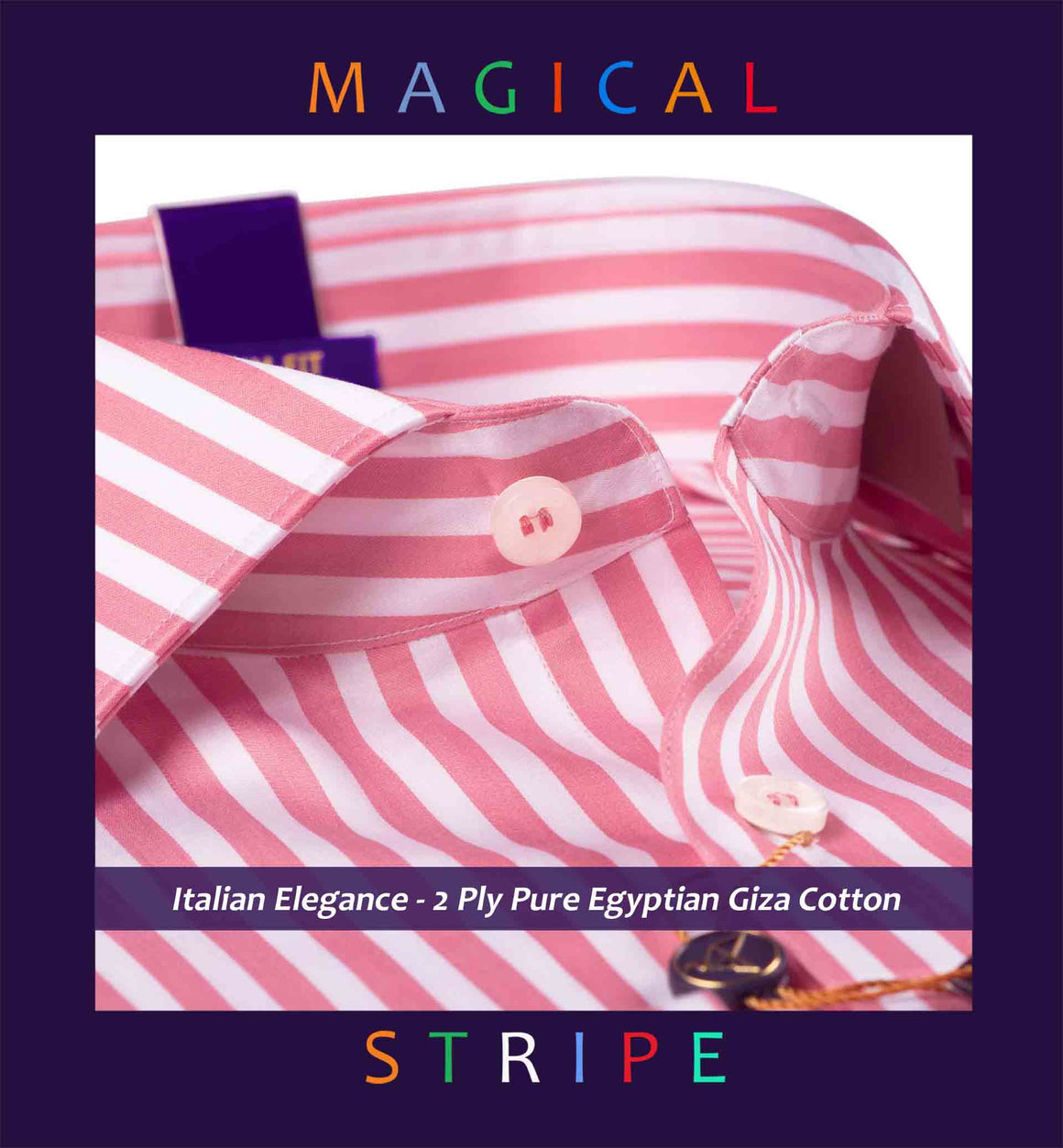 Condamine- Carnation Pink & White Magical Stripe