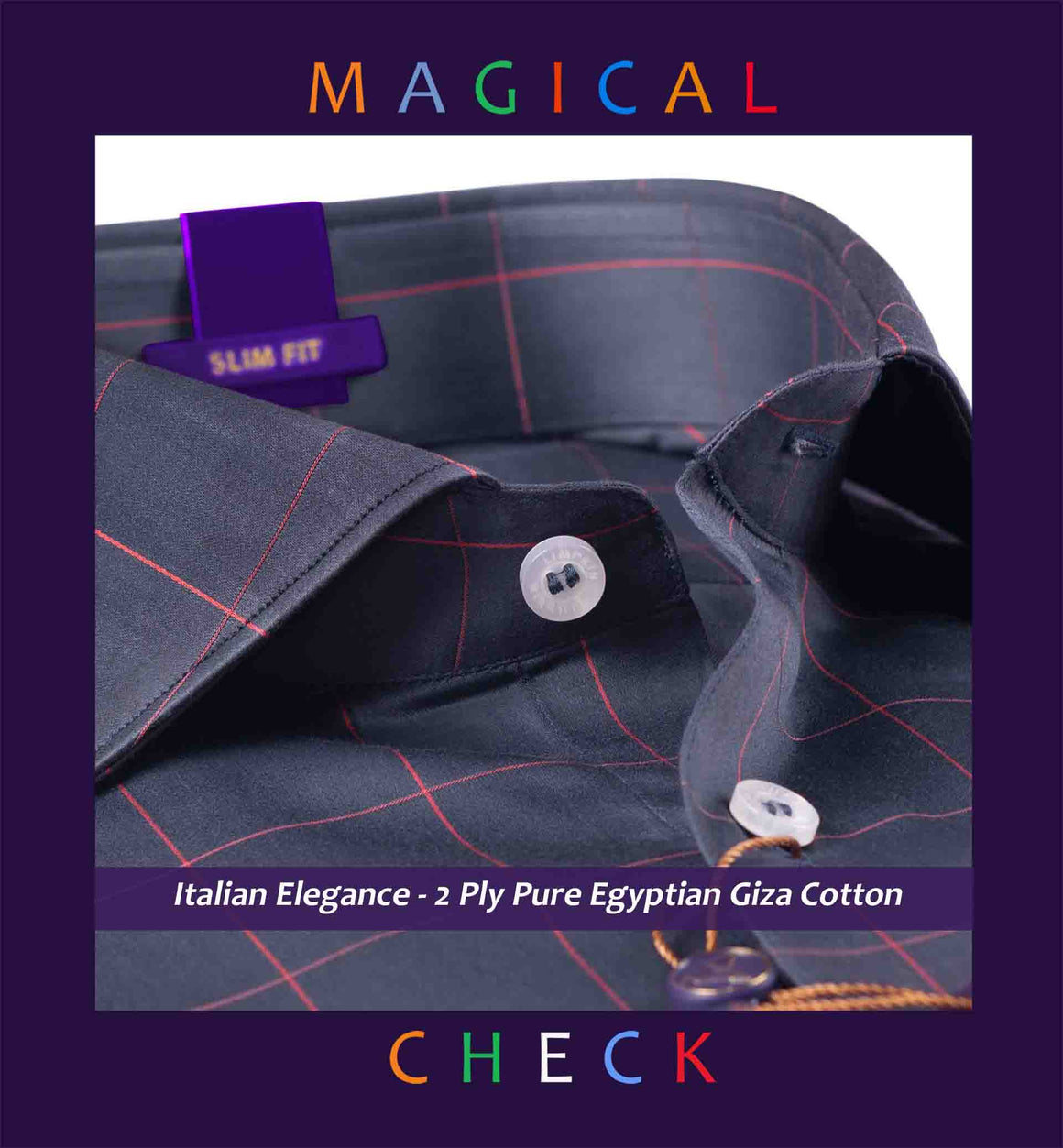 Niagara- Anchor Grey & Orange Magical Check- 2 Ply Pure Egyptian Giza Cotton- Delivery from 30th Sep