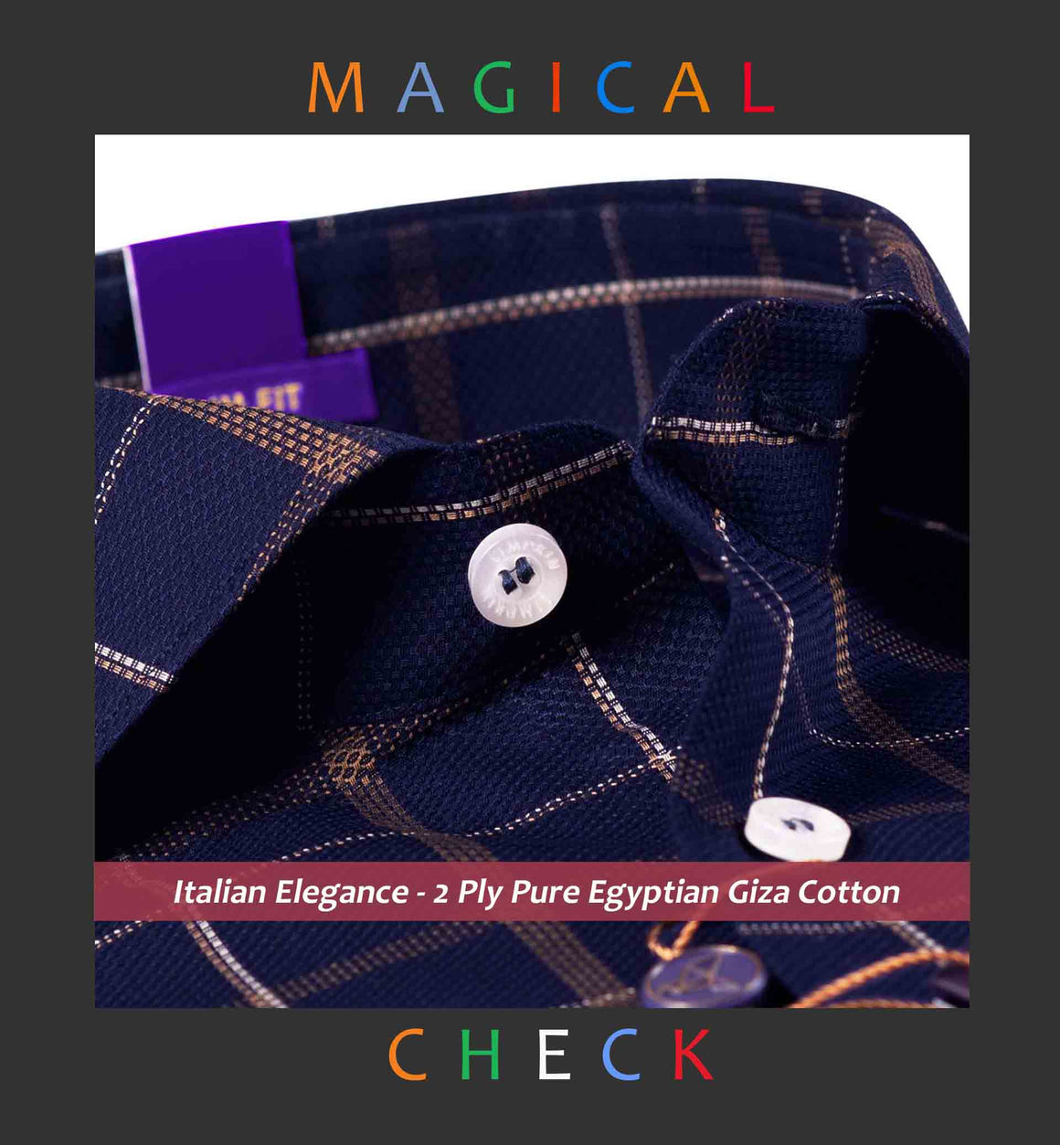 Bakersfield- Dark Navy & Beige Magical Check- 2 Ply Pure Egyptian Giza Cotton