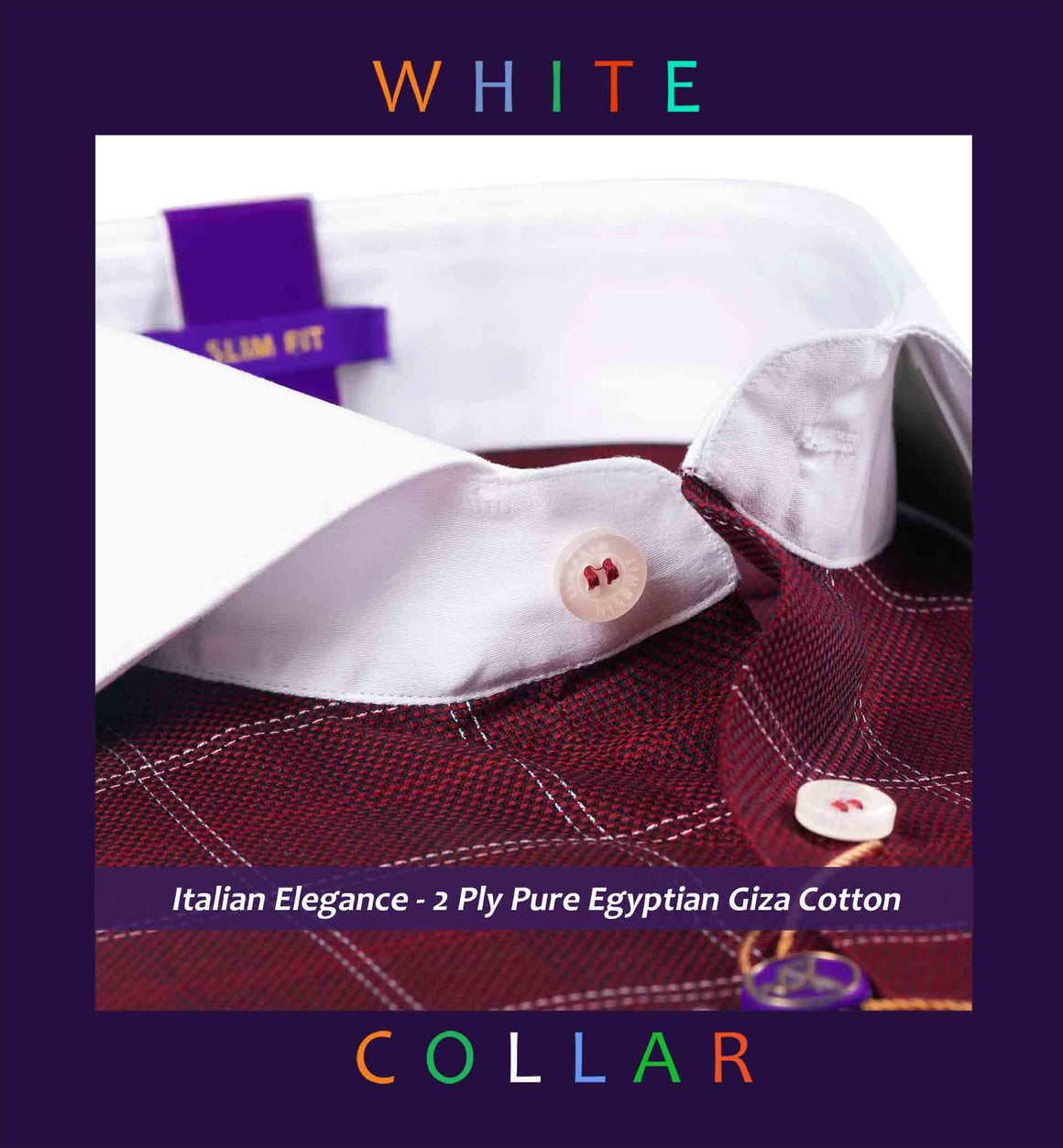 Naples- Burgundy & White Check with White Collar