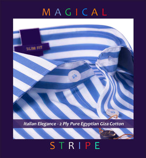 Cortland- Cobalt Blue & White Magical Stripe- 2 Ply Pure Egyptian Giza Cotton
