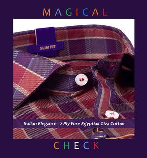 Rochdale- Burgundy & Beige Magical Check- 2 Ply Pure Egyptian Giza Cotton