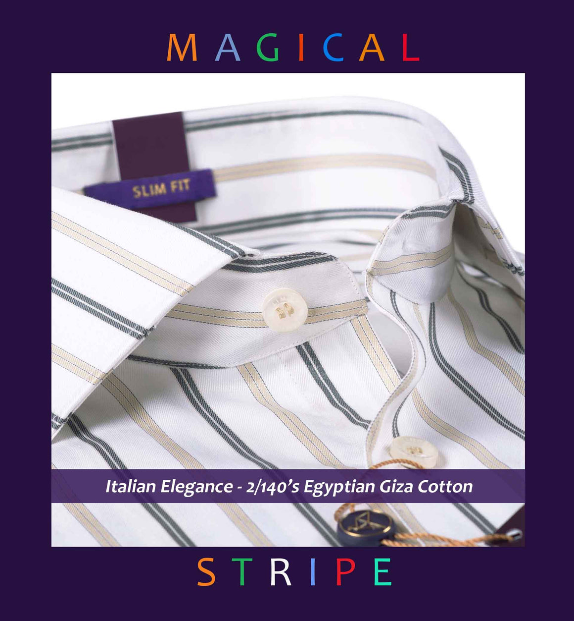Cairoli- White & Beige Magical Stripe- 2/140 Egyptian Giza Cotton