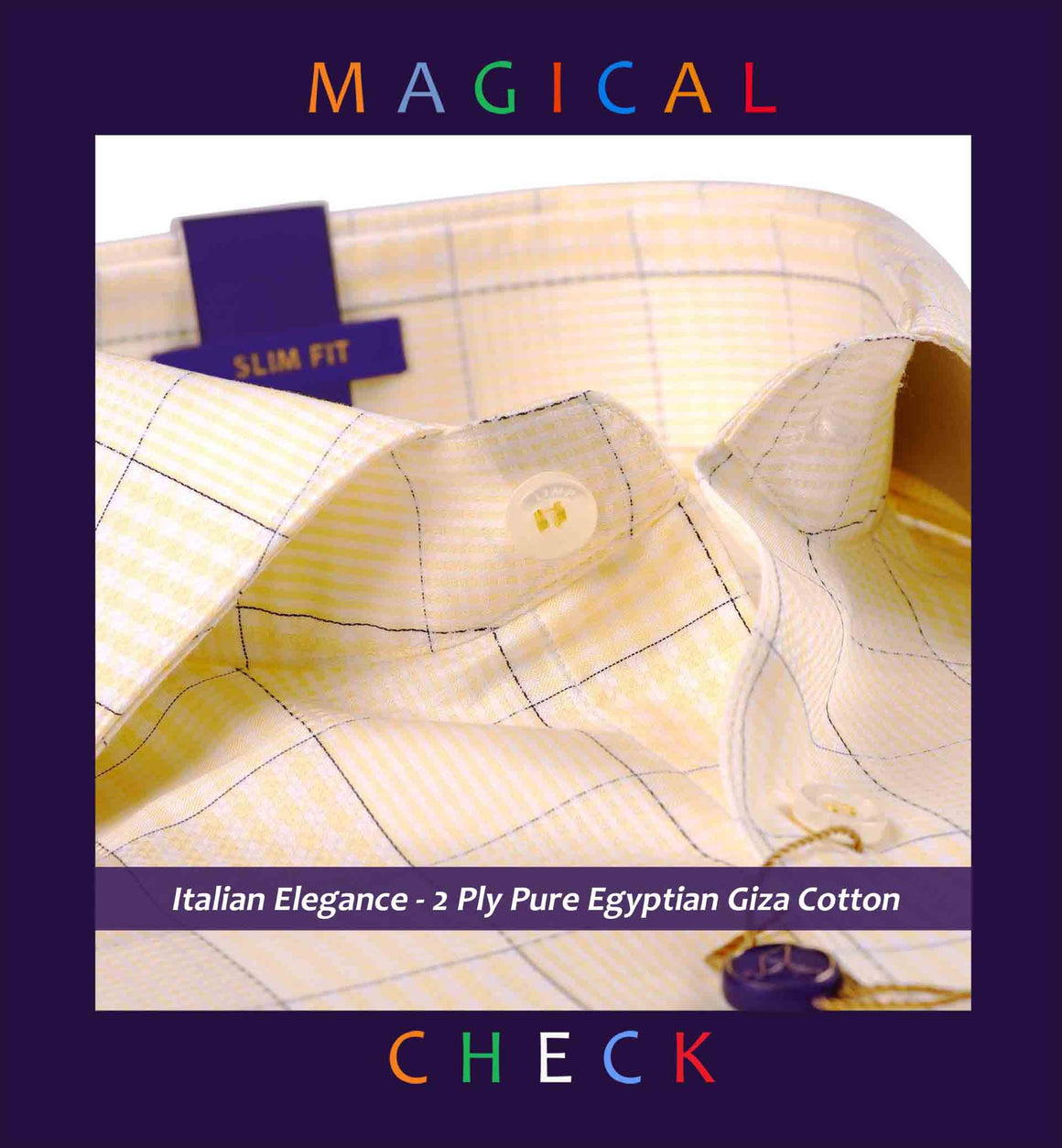 Romania- Daffodil Yellow & Navy Magical Check- 2 Ply Pure Egyptian Giza Cotton