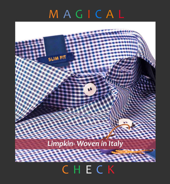 MEMPHIS- NAVY & BEIGE MICRO GINGHAM CHECK- Delivery from 25th July