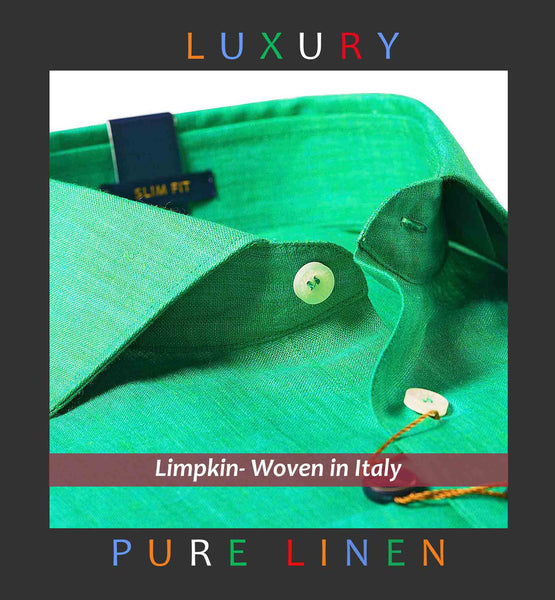 CATANIA- EMERALD GREEN PURE LINEN IN 60's LEA- SLIM/REGULAR FIT