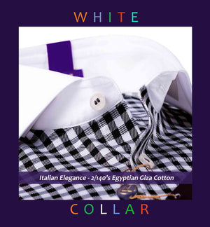 Vasco- Black & White Gingham Check- 2/140 Egyptian Giza Cotton- Delivery from 14th July