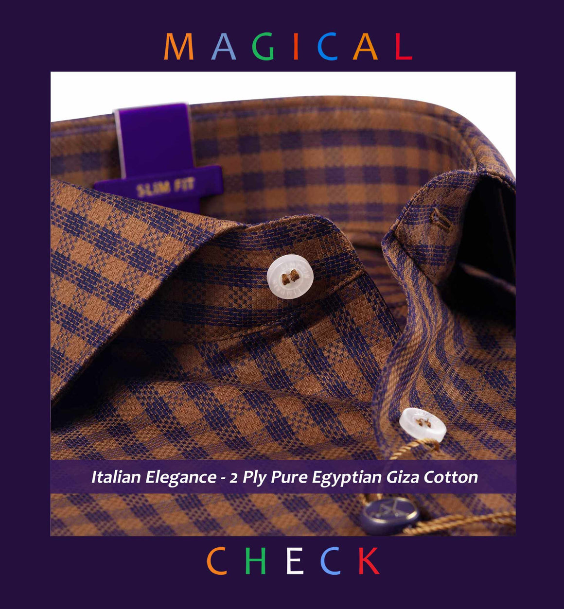 Beaumont- Caramel Brown & Navy Magical Check