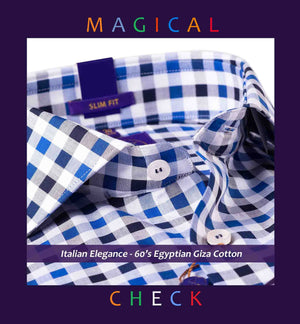 BURGDORF- NAVY & WHITE MAGICAL FORMAL CHECK
