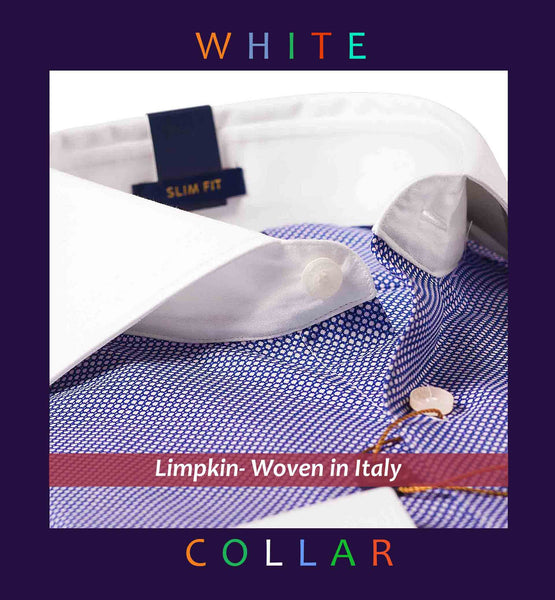 NEWCASTLE- NAVY MICRO STRUCTURE WITH WHITE COLLAR- SLIM/REGULAR FIT