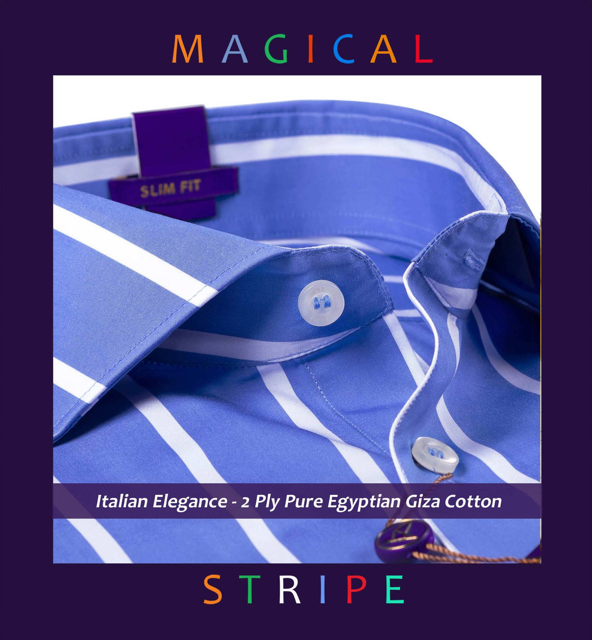 Manhattan- Cobalt Blue & White Magical Stripe