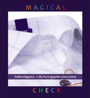 Napoli- White & Oxford Blue Magical Check- 2 Ply Pure Egyptian Giza Cotton