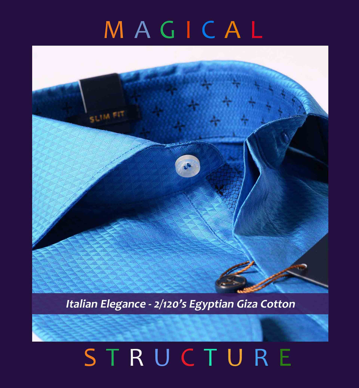 Durham- Magical Royal Blue Structure- 2/120 Egyptian Giza Cotton
