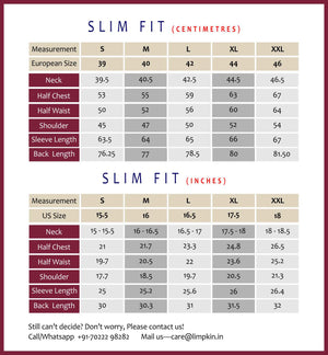 Limpkin- Slim Fit- Measurement Chart