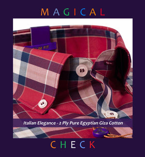 Houston- Rosewood Burgundy & Navy Magical Check