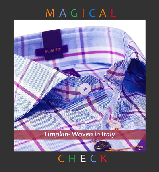 PHOENIX- BLUE & LILAC MAGICAL CHECK- SLIM/REGULAR FIT
