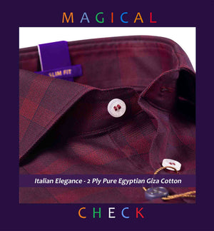Corsico- Burgundy & Navy Magical Check- 2 Ply Pure Egyptian Giza Cotton