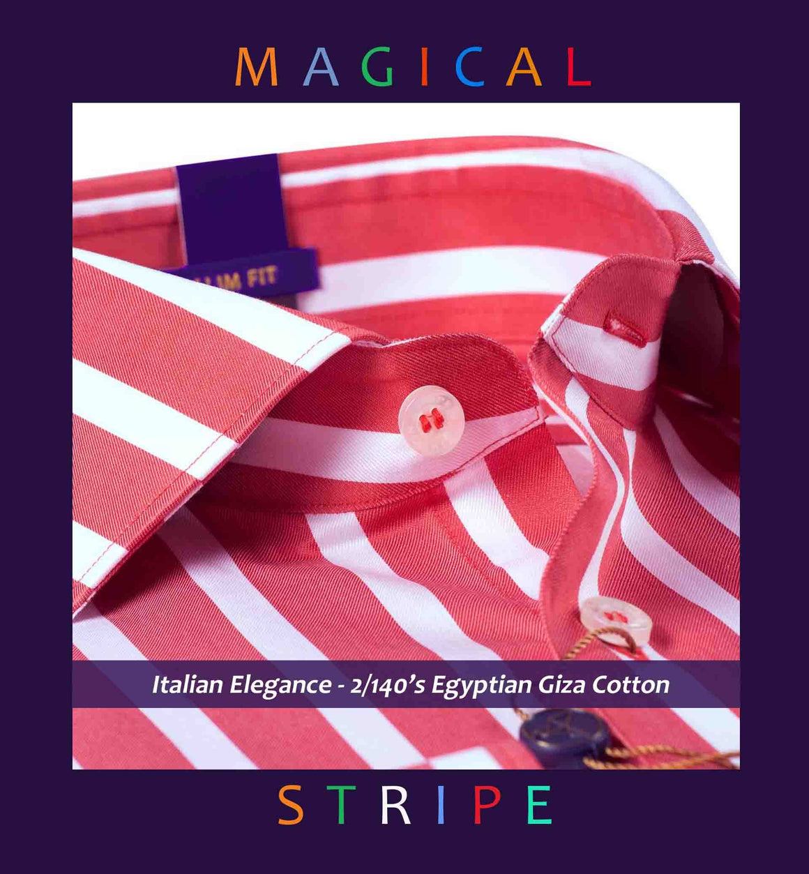 Bilbao- Coral Red Magical Stripe