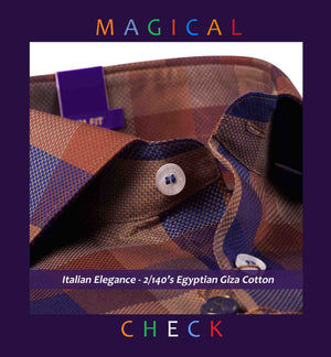 Nevada- Navy & Brown Magical Check- 2/140 Egyptian Giza Cotton