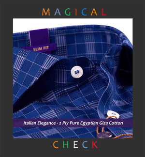 Legnano- Dark Navy & Beige Magical Check