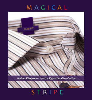Finsbury- White & Beige Magical Stripe
